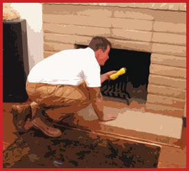 Man inspecting a fireplace in Sonoma